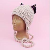 Вязаная зимняя шапка с ушками Катара пудра тм Babasik размер 48-50