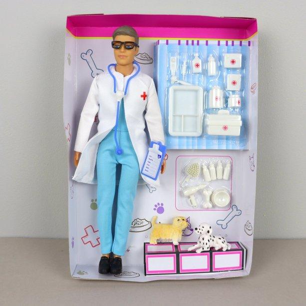 Кукла Defa доктор, 29см, чемодан, инструменты, собачка 2шт, в коробке, 23-32,5-5см, для детей