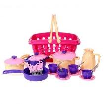 Игрушка Кухонный набор во вместительной корзине, 26 предметов тм ТехноК KM4449
