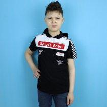 Детская футболка с капюшоном для мальчика черная тм Seagull