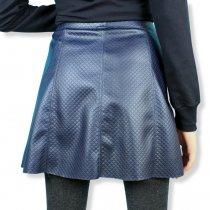 Детская юбка для девочки Трапеция кожаная синяя тм Viollen