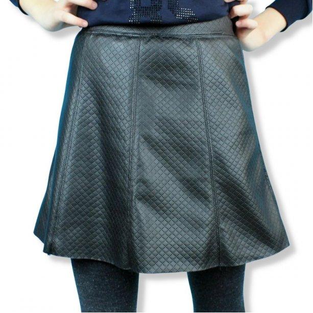 Детская кожаная юбка для девочки Трапеция черная тм Viollen