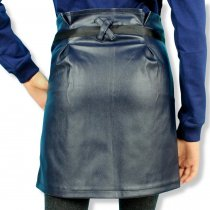 Кожаная юбка для девочки карандаш с карманами синяя