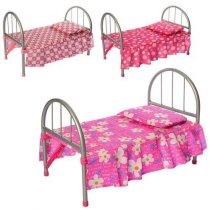Железная кроватка для куклы 45-32-25см, постель и подушка, в кульке 74-26-4 см KM9342