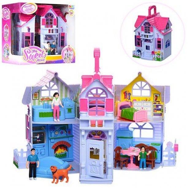 Домик 20-24-16см, мебель, фигурки, собачка, в коробке, 27-26-18см, для детей