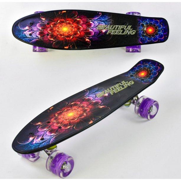 Скейт тм Best Board колеса со светом, доска = 55см, колёса PU, d=6см