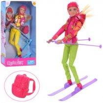 Кукла Defa шарнирная, 30см, лыжи, рюкзак, шлем, в коробке, 18-34-7см, для детей