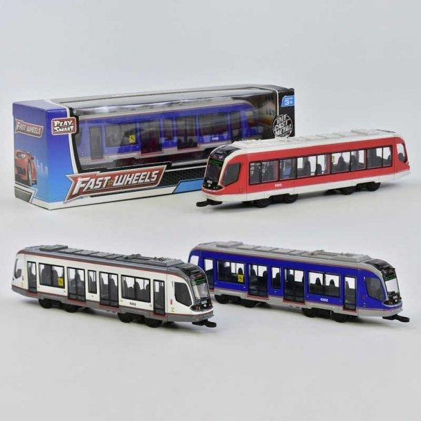 Игрушка Трамвай металлопластик 3 вида, инерция, в коробке
