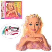 Кукла Defa голова для причесок 23 см, плойка, косметика, заколочки, коробка 31,5-27-13,5 см KM8415M