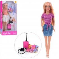 Кукла Defa 29см, чемодан, фотоаппарат, в коробке, 15-32-5см, для детей