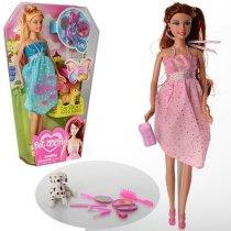 Кукла DEFA: 28 см, собачка, сумочка, аксессуары в коробке 19,5-32-5,5 см KM8073