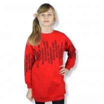 Детская кофта туника для девочки с надписями красная тм Toontoy