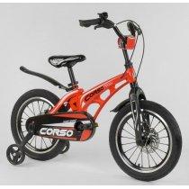 """Детский Велосипед 16"""" дюймов 2-х колёсный  """"CORSO""""  Красный, Магниевая рама, Алюминевые двойные диски с усиленной спицей, Дисковые тормоза"""