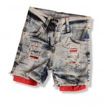 Джинсовые шорты для девочки красные карманы