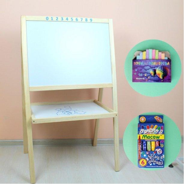 Мольберт детский двухсторонний магнитный для маркеров и мела 3в1