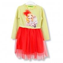 Платье детское на девочку золотое,низ красный тм Vdags