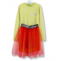 Детское Платье+Юбка фатиновая Стрекоза золото-красное тм Vdags размер 128,134,140,146
