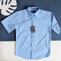 Детская рубашка с коротким рукавом для мальчика голубая Польша