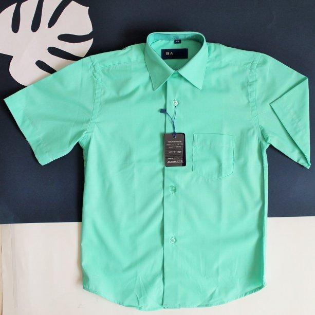Детская рубашка с коротким рукавом для мальчика мятная Польша
