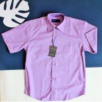 Детская рубашка с коротким рукавом для мальчика сиреневая Польша