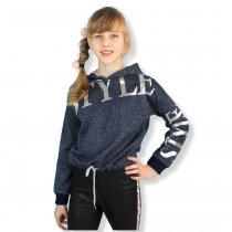 Детский кроп-топ для девочки с капюшоном Style люрекс синяя тм Viollen