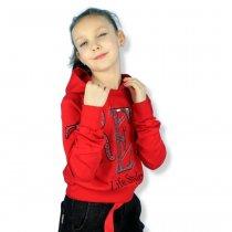 Детская кофта для девочки с капюшоном Life Style красная тм Benini