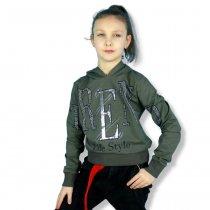 Детская кофта для девочки с капюшоном Life Style хаки тм Benini