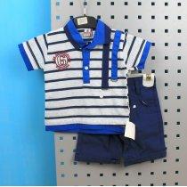 Летние наборы детские футболка в полоску и синие шорты для мальчика