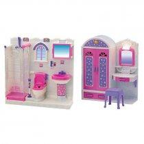 Игрушка Мебель шкаф-трюмо, душевая кабина, унитаз, умывальник, свет, на бат, в кор-ке, 55,5-32,5-10см