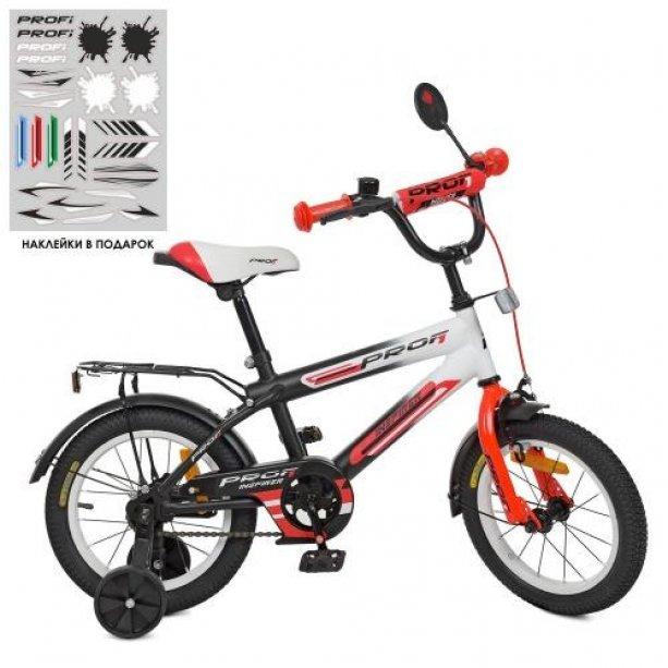 Детский велосипед PROF1 14д. Inspirer с дополнительными колеса