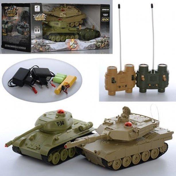 Набор игровой р/у (пульт2шт), танк 21см 2шт, аккум 2шт, звук, свет, в коробке, 34-16,5-19,5см, для детей