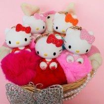Мягкий меховой Брелок кролик Китти на сумку, рюкзак, ключи