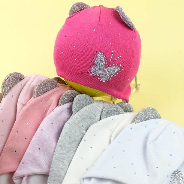 Детская шапочка с ушками девочке Бабочка р.46-48