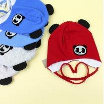 Детская шапочка с ушками мальчику Панда р.46-48