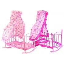 Кроватка для куклы, железная, качалка, 47-33-67см, балдахин, подушка, спальное место 43см, 33,5-47-5,5см, для детей