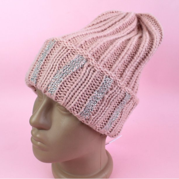 Зимняя шапка для девочки стразы тм Nikola размер 54-56