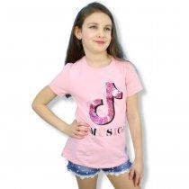 Детская футболка на девочку Music с пайетками розовая тм Grace