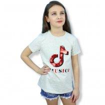 Детская футболка для девочки Music с пайетками серая тм Grace
