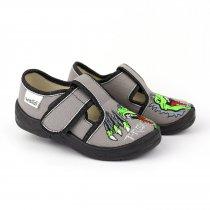 Текстильные детские туфли тапочки Гриша серый T-Rex тм Waldi