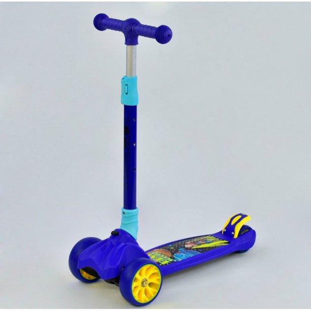 Детский Самокат трехколесный Best Scooter, MAXI, синий, колёса PU со светом, передние d=12см, задние d=8см, складной руль
