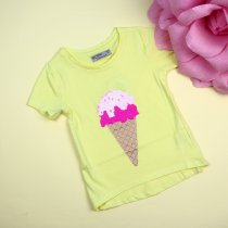 Детская футболка девочке Мороженое пайетки перевертыши желтая тм Glo-Story