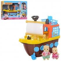 Игрушка Животные флоксовые корабль, свет, звук, 2 фигурки, в кор. 41*28*5 см