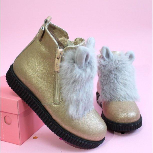 Кожаные ботинки с ушками для девочки тм Олтея