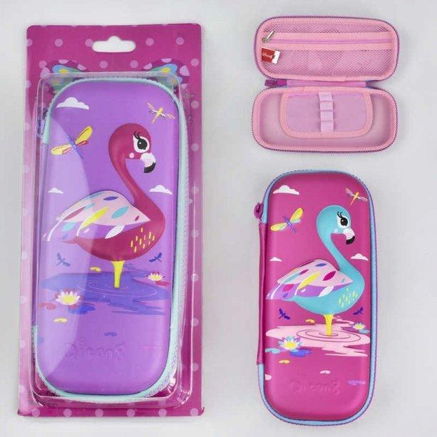 Пенал для девочки жесткий Фламинго, объемная картинка