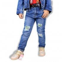 Детские джинсы на девочку рванка с пайетками и поясом тм Resser Denim