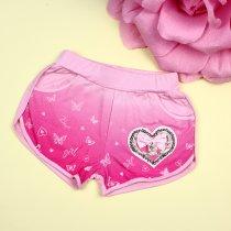 Трикотажные шорты на девочку Сердце с бусинами розовые тм Seagull