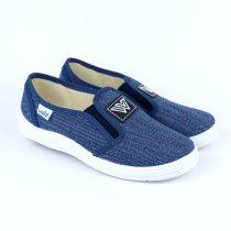 Синие текстильные мокасины для мальчика