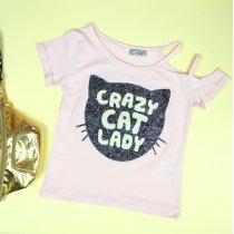 Детская футболка пудра Кот с блесками