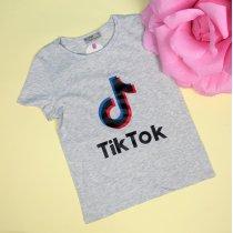 Детская футболка для девочки Tik-tok серая тм Glo-Story