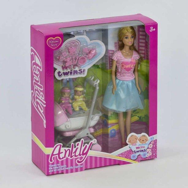 Игрушка Кукла Anlily Близнецы с коляской и аксессуарами, в коробке